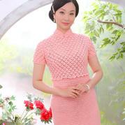 女士钩针扇形花旗袍裙