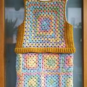 多色拼接鉤花祖母方格兒童假兩件小裙裝
