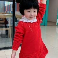 叶心 钩织结合从上往下儿童圆肩羊毛衫