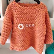 橙色钩针半袖套头毛衣