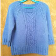 云紋寶藍女士棒針扭花插肩毛衣