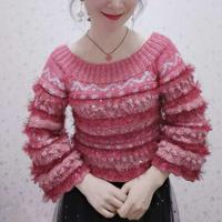 少女风改版华丽风 毛茸茸女士棒针大圆领阔袖套头毛衣