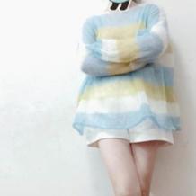 仙气女士棒针条纹马海毛衣
