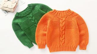 青桔 从上往下织的棒针圆领毛衣