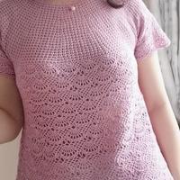 浅紫佳人 女士夏季钩针短袖套头毛衣