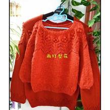 樱舞 可爱儿童钩织结合套头毛衣