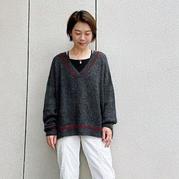 簡單平針織出街拍風 女士棒針V領套頭毛衣