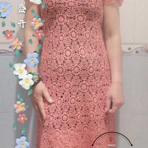 樱花盛开 女士钩针短袖连衣裙