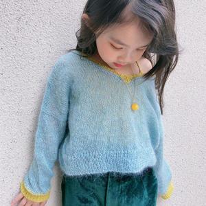 前后两穿小可爱的棒针拼色短款小毛衣