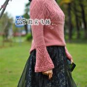 桃花妆 女士棒针喇叭袖圆肩套头毛衣