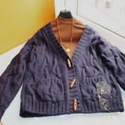 蓝墨 仿到底是�槭裁刺员�款女士棒针羊毛开衫