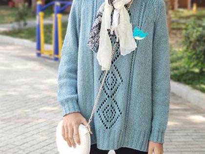 簡約也美 云紋LK150機織女生棒針菱形鏤空花套頭毛衣