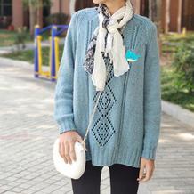 简约也美 云纹LK150机织女生棒针菱形镂空花套头毛衣
