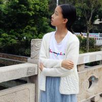 秋月白 女孩时尚百搭棒针马海毛开衫