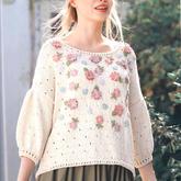 春意盎然鉤針小花女士棒針直編燈籠袖套頭毛衣