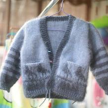 松鼠绒儿童棒针小鸟图案开衫外套