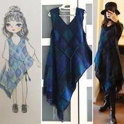 星空游 女士钩针祖母方格连衣裙(第十届编织大赛作品)