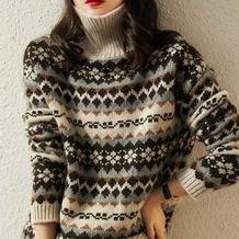 心念 仿淘宝款女士棒针北欧风提花毛衣
