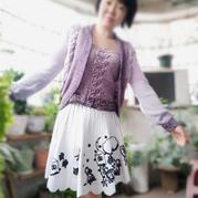 紫玉珠 圆弧下摆女士棒针吊带开衫两件套