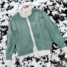 绿缘 无需另挑织门襟的女士棒针羊绒麻花开衫