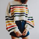 织一件彩色条纹毛衣冲进春天,比比谁更靓?