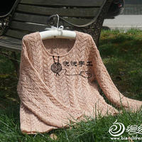 奶茶 女士棒针珍珠麻镂空套衫
