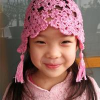 兒童鉤針粉色拼花鏤空流蘇小帽