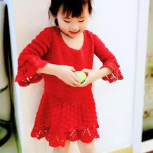 毛线球成衣款改版女童钩针连衣裙