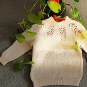 蒹葭 从领口往下织宝宝棒针镂空花育克毛衣
