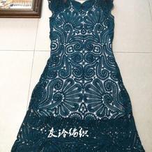 女人花 比利时花边套头无袖钩针长裙