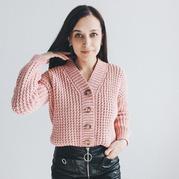 像棒针花样的钩针V领开衫织法视频教程 男女老幼都适合的款式