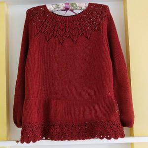 从上往下织女士棒针育克蔷薇花镂空毛衣