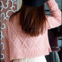甜妞 女士棒针菱形花短款马海毛衣