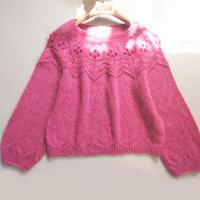 从领口往下织女士棒针春季镂空马海毛衣