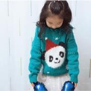 圣诞熊猫图案儿童棒针嵌花套头毛衣