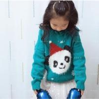 圣誕熊貓圖案兒童棒針嵌花套頭毛衣