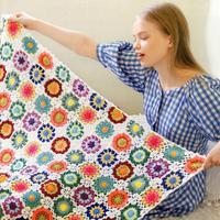 田园风彩色毛线钩针编织小盖毯编织图解