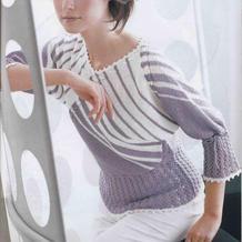 结构独特的春夏女士棒针条纹V领套衫