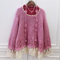 鉤花底邊甜美女童粉色套頭毛衣