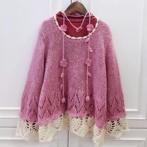 钩花底边甜美女童粉色套头毛衣