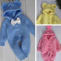 大麻花连体衣(8-2)0-2岁婴幼儿棒针连帽爬服编织视频(左前片的织法)