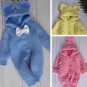 大麻花连体衣(8-3)0-2岁婴幼儿棒针连帽爬服编织视频(后片的织法)