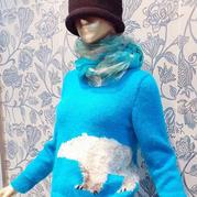 女士棒針北極熊圖案圓領套頭毛衣