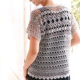 背后更精彩 女士鉤針小花蕾絲花樣直編款短袖套衫