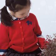 青春活力学院风儿童♀棒针圆领开衫