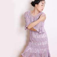 菠萝花荷叶边连衣裙(2-1)女士钩针裙装视频教程