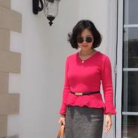 风信子玫红小洋衫 超显气质修身款女士棒针套头毛衣