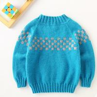 从上往下织儿童棒针方块提花圆领毛衣编织视频