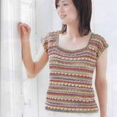 混色編織女士鉤針短袖方領套衫編織圖解