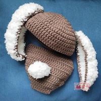 创意百天照手工编织钩针毛毛兔套装服饰